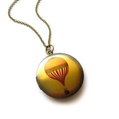 Vintage Hot Air Baloon Photo Locket