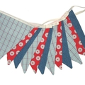 Star Denim Blue, Red and Check BOYS  Bunting. Party, Shop, Banner Decoration