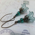 Emerald and Teal Lucite Earrings