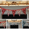 RED or BLUE CHRISTMAS TWEET BUNTING / DECORATION