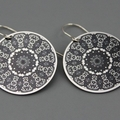 Black and Silver Motif Earrings - 5