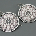 Black and Silver Motif Earrings - 2