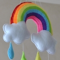 Rainbow and Raindrops nursery mobile