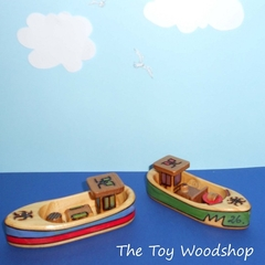Handcrafted Wooden Toy Fishing Boat That Floats - Small