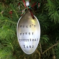 Baby's First Christmas Vintage Silver Spoon Christmas Ornament / Decoration