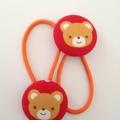 Bear fabric button hairties