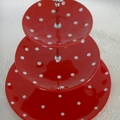 3 tier cake Stand MW Sprinkle Red & White Spots Polka dots