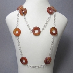 Matt Carnelian beads on a sterling silver chain