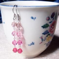 Ombre Swarovski Crystal Earrings Pink Raspberry Sherbert Fuschia Pastel Gradient