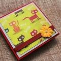 "Post It Notes Holder with secret ""Docket Pocket"" - Cute Cats - Teacher Gift"