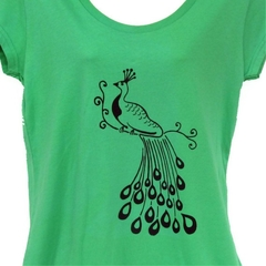 Green Peacock T-shirt - ladies sizes 8 - 18 available