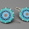 Fractal Blue art Earrings