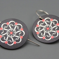 Red, Black and Silver Motif Earrings -6