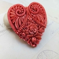 Large Tied Dyed Red Heart Cameo Brooch