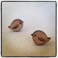Eco friendly wooden bird stud earrings