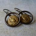 Forest love - little beetle brass earrings