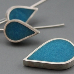 Aqua Drops Sterling silver and Resin Pendant and Earrings