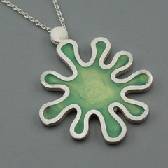 Lime Green  Splat Sterling silver and Resin Pendant
