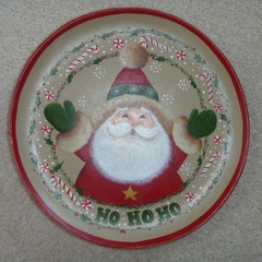 Wooden Painted Christmas Plate