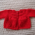 SIZE 0-6 months - Hand knitted baby cardigan/ jacket in red