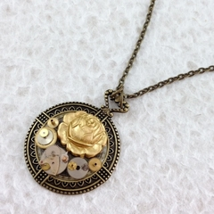 Gold Rose Steampunk Pendant on Chain