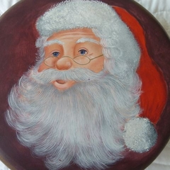 Candle tin with Painted Santa lid