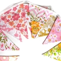 Vintage Bunting - Retro Pink Orange White Floral Flags. Party, Home Decoration