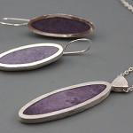 Blushing Mauve Sterling silver and Resin Pendant and Earrings