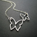 Double Butterfly Necklace in Silver
