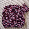 SIZE 3-4 - Hand knitted jumper-multi colour -pink, black & wine by CuddleCorner