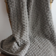 Earthy Green Hand Knitted Wool Shawl Wrap Afghan