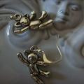 teddy bear earrings silver  tone earring
