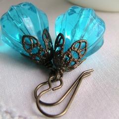 Vintage Pears - Electric Blue Lucite and Vintaj Brass Earrings