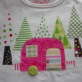 Appliqued Girls Tee With Caravan and Forest - Bright  Size 2