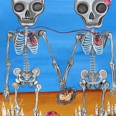 Art Print - The Two Skeletons - by Jaz Higgins - 8x10  Frida Kahlo Gothic Skulls