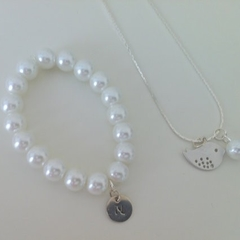 Little girl's bird pearl necklace & initial bracelet gift set, birthday gift