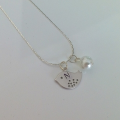 Flower girl initial little bird and pearl necklace gift