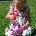 Poppet Romper in Sugar Hill w Brooch size 0000-2 sunsuit playsuit birthday party