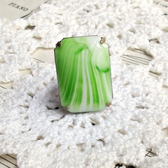 Ring. Eirenne. Cocktail. Vintage Glass Stone. Lime Green. Glam Statement Ring.