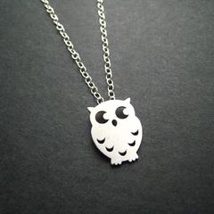 Little Mod Owl Necklace In Silver, Sterling Silver Chain