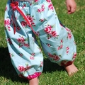Harem Pants in Aqua Roses size 0000, 000, 00, 0, 1, 2, 3, 4 winter summer