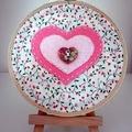 "4"" Hoop Art - Pink Hearts - OOAK"