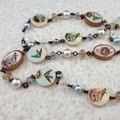 Nesting Birds Photobeads Necklace with crystals and glass pearls