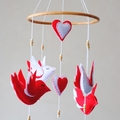 Baby bird ~ 4 red birds ~ mobile