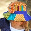 Patchwork Hat Pattern PDF Sewing Pattern Sun Hat for Boy & Girl Removable Flower
