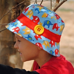 Bucket Hat PDF Sewing Pattern Sun Hat for Boy or Girl Button Embellishment