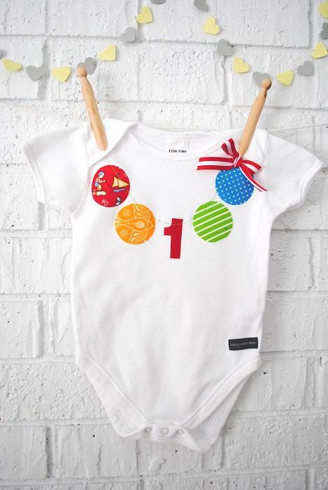First Birthday Bunting Onesie - bodysuit, baby, girl ...