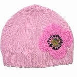 Girls Retro Handmade Pink Knitted Wool Beanie Hat with Flower SIZE 4 5  6 7 8 9