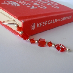 Silver bookmark with red and silver beads. BM3