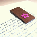 Magnetic bookmark (small) - brown with hot pink flower